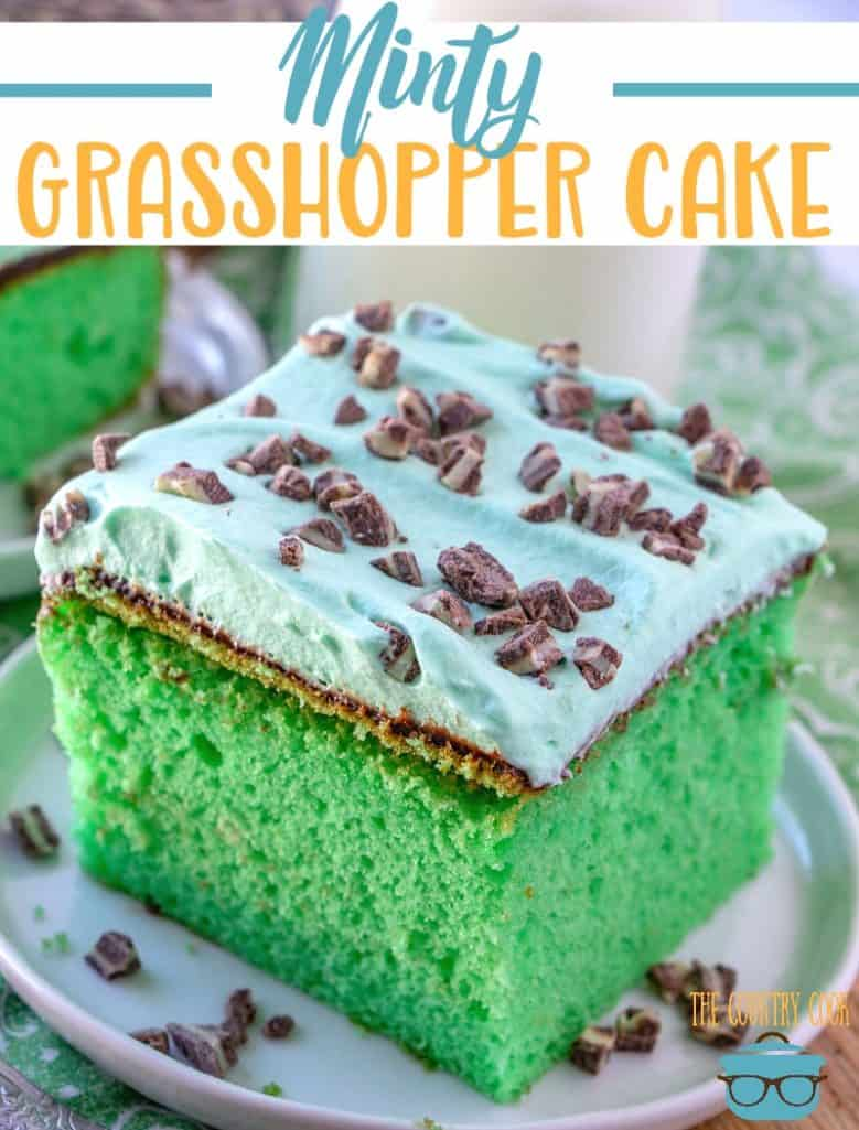 Minty Green Grasshopper Cake recipe from The Country Cook #cakemix #StPatricksDay