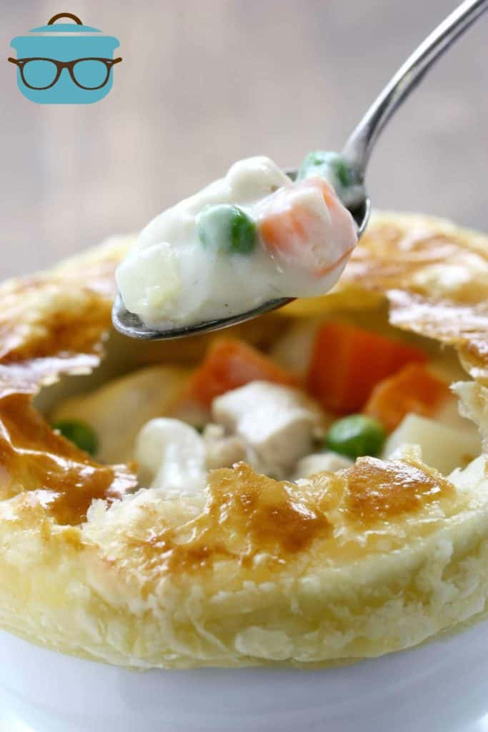 spoonful, homemade chicken pot pie with puff pastry crust
