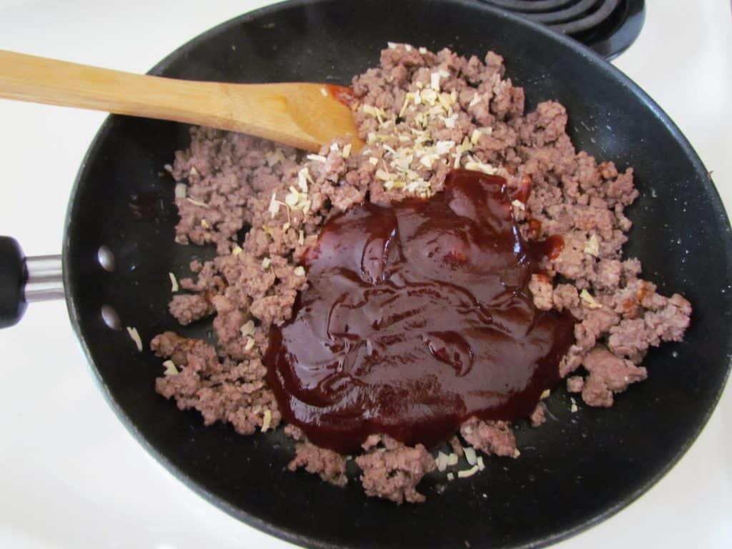 ground beef, BBQ sauce, dried minced onion