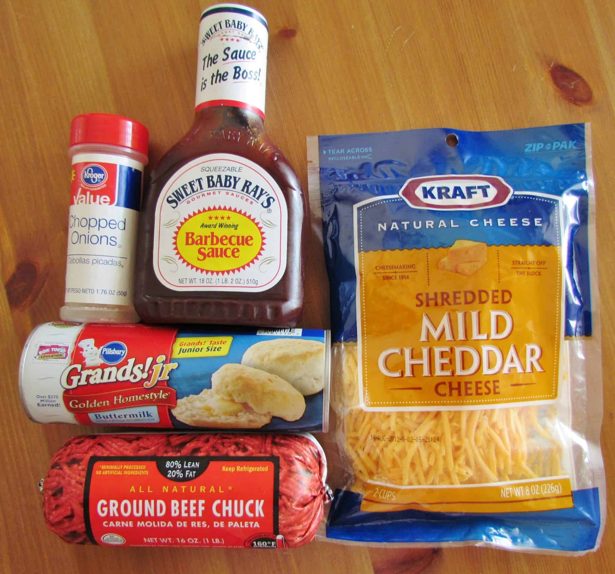 refrigerated biscuits, ground beef, shredded cheese, barbecue sauce, onions.