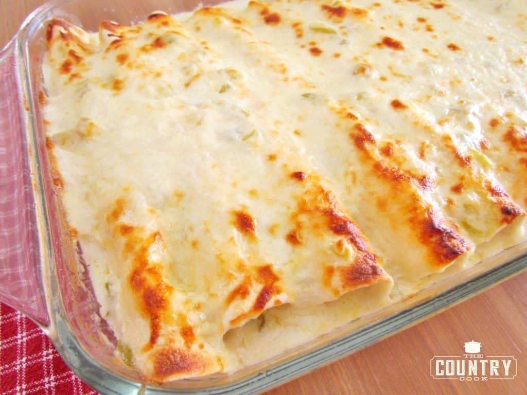Creamy Cheesy Chicken Enchiladas with white sauce