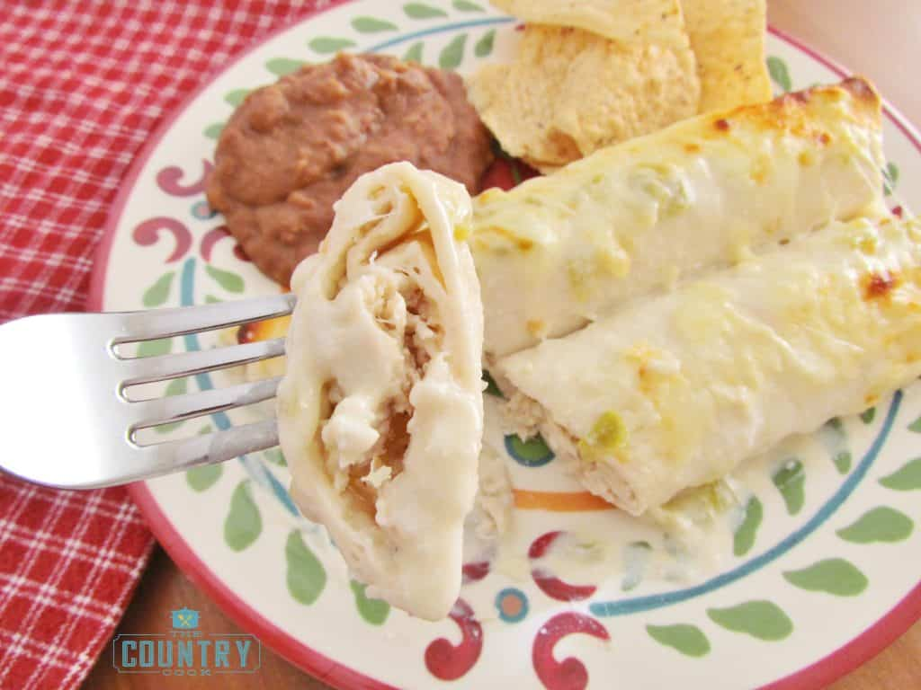 Creamy Cheesy Chicken Enchiladas with white sauce