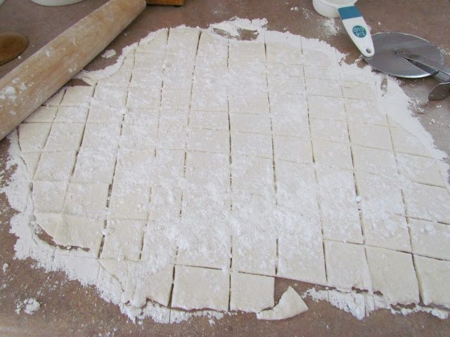 homemade square dumplings cut from dough