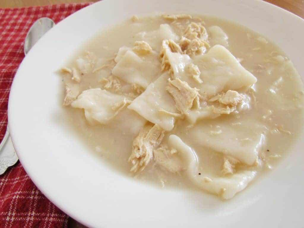 Cracker Barrel Old Fashioned Chicken and Dumplings in a bowl