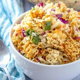 Ramen Asian Salad recipe in a bowl