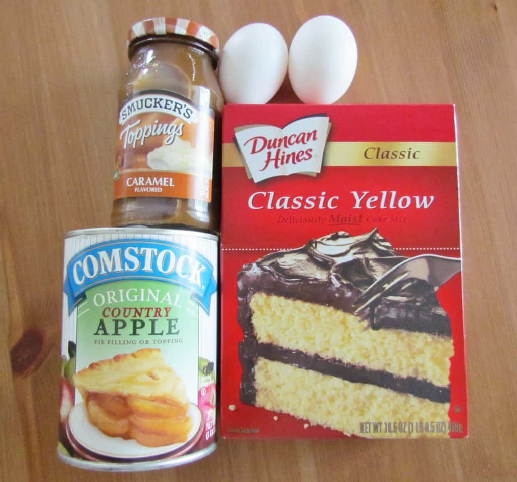 yellow cake mix, apple pie filling, caramel sauce, eggs, cinnamon