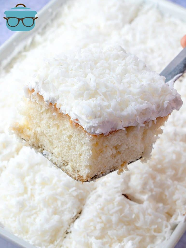 Coconut Cream Poke Cake serving