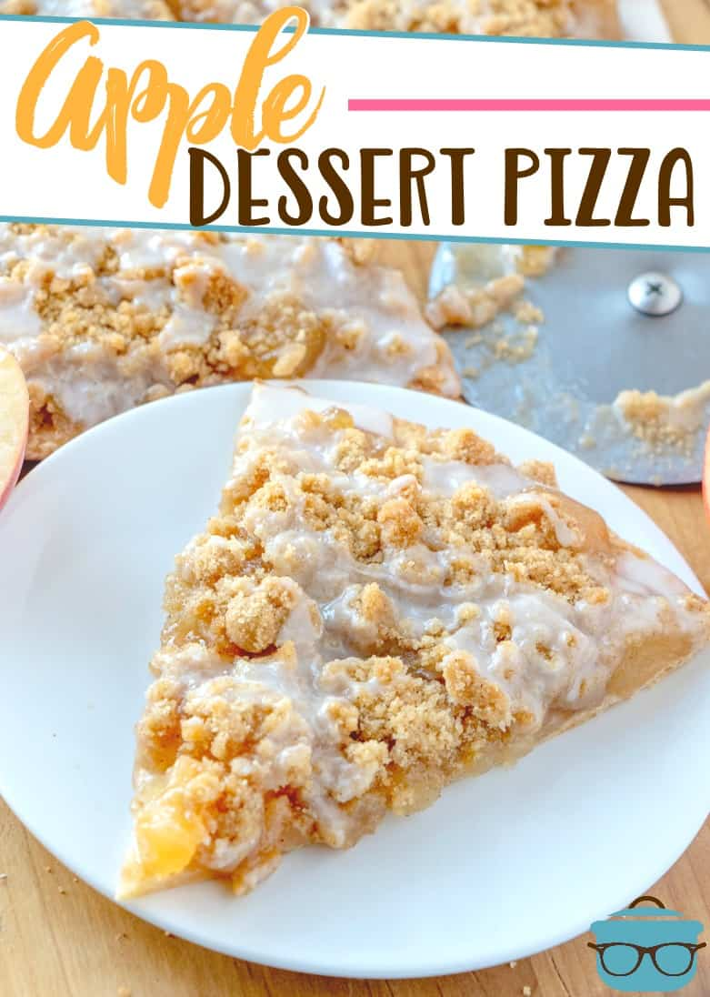 This Apple Dessert Pizza is a quick dessert that everyone loves! Pizza crust, apple pie filling, crumble topping and a sweet icing drizzle.