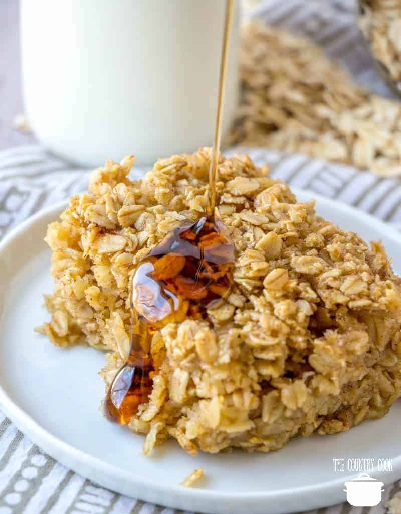 Maple Syrup drizzled on baked oatmeal