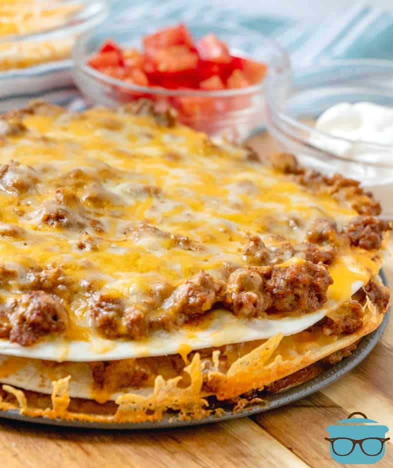 closeup, layered taco bake
