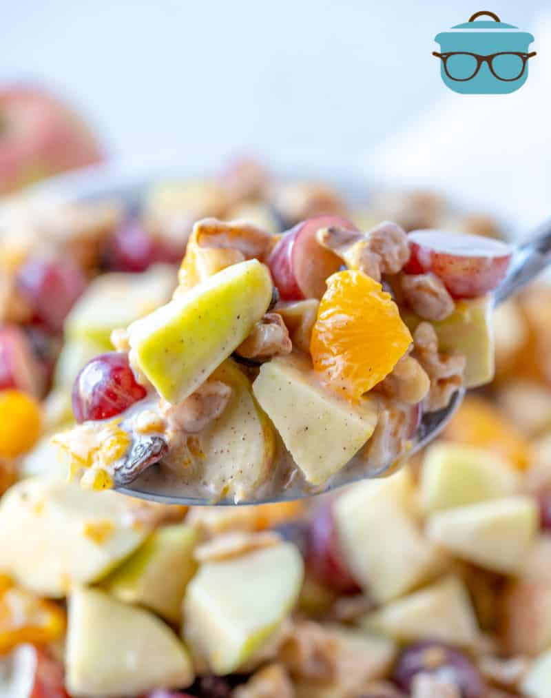 SPOONFUL, APPLE FRUIT SALAD with oranges and grapes