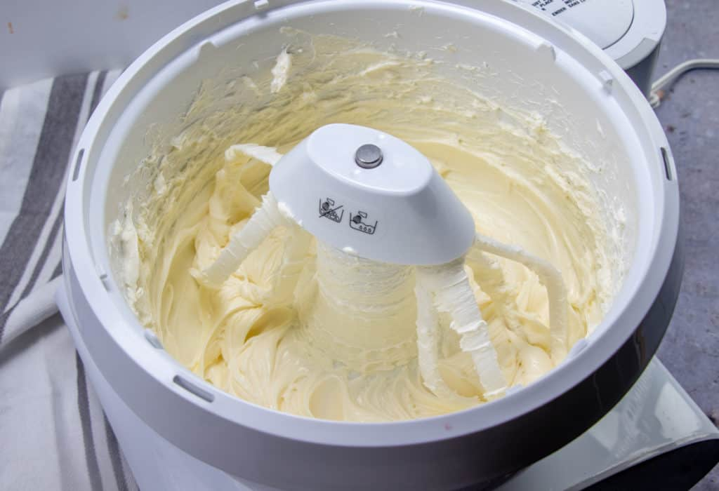 cream cheese and sugar in an electric mixer