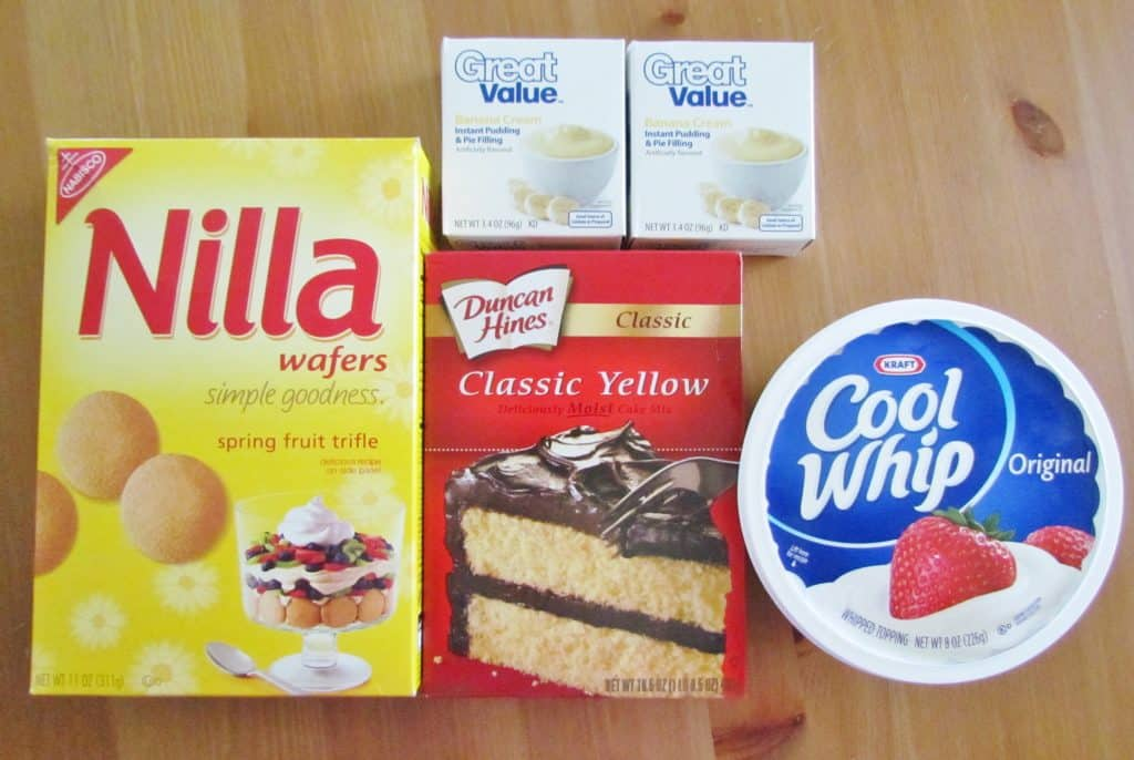 yellow cake mix, Nilla wafers, instant vanilla pudding, cool whip, bananas