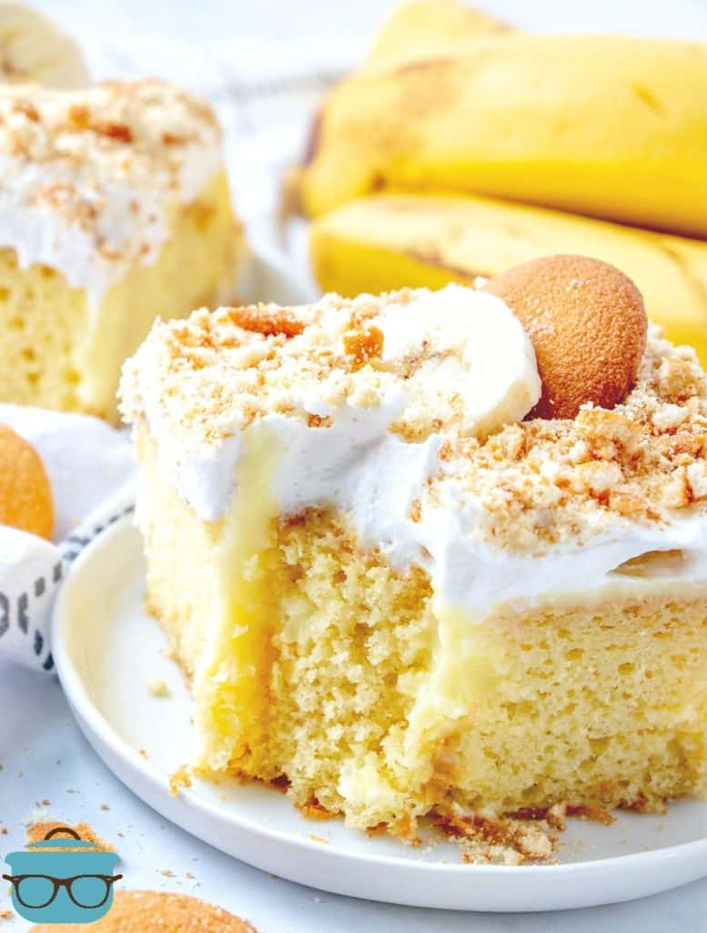 bite of banana poke cake