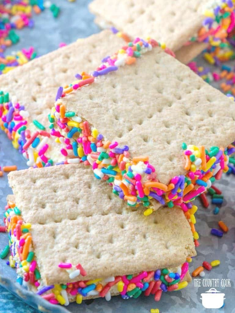 Graham Cracker Goodies with sprinkles, serve cold