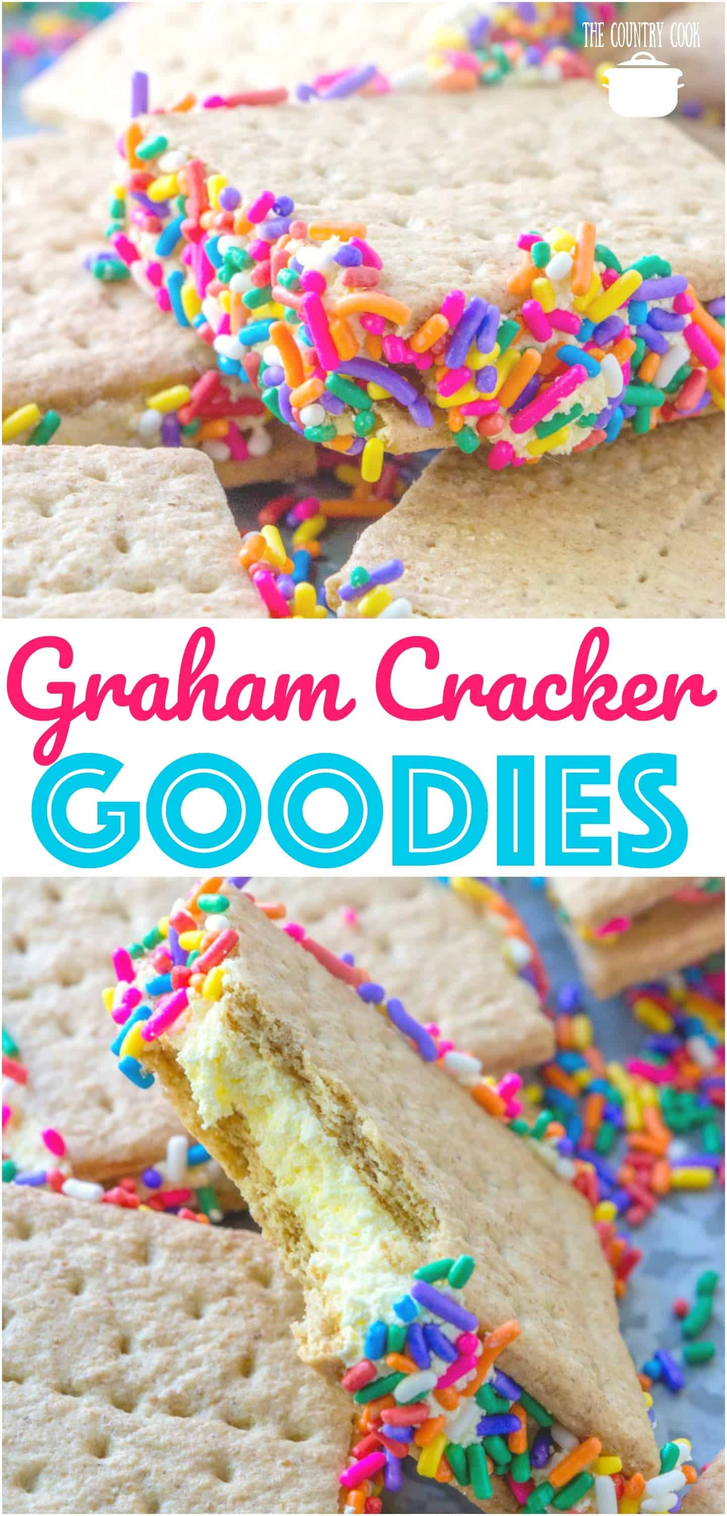 No-Bake Graham Cracker Goodies recipe from The Country Cook. Kids love them and they are delicious served cold! #desserts #nobake #grahamcrackers #kids #kidfriendly #summer #treat #easy #ideas
