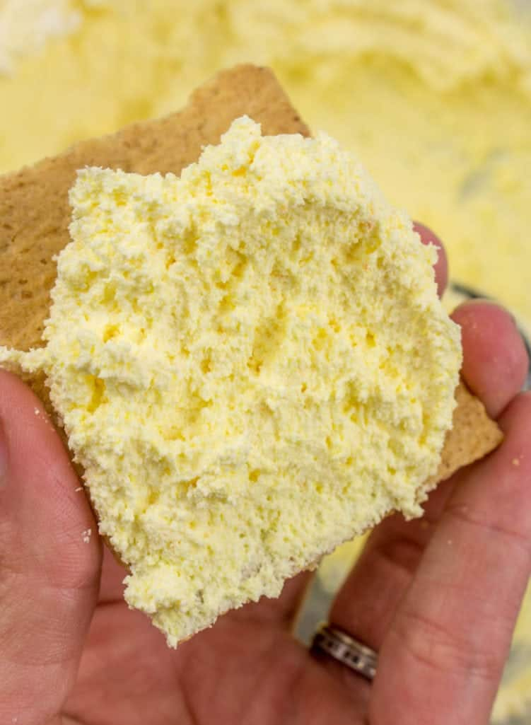 Cool Whip frosting spread on graham crackers