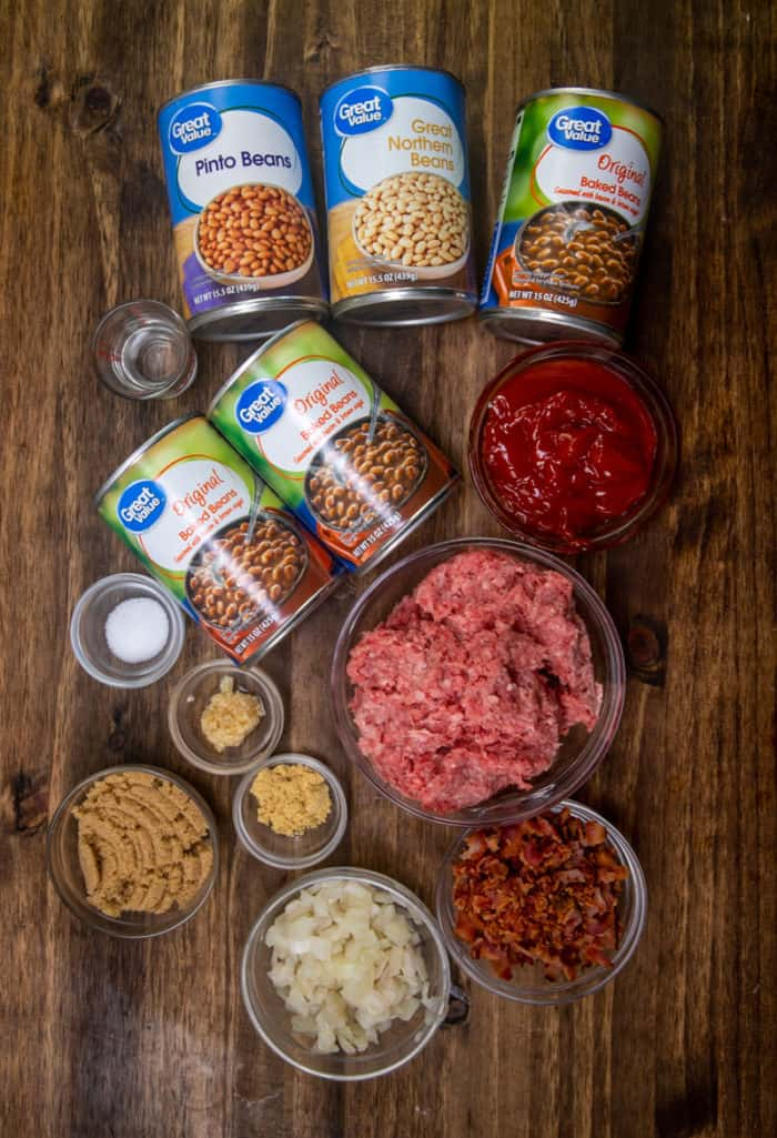ground beef, onion, cooked bacon, baked beans in sauce, pinto beans, northern beans, garlic, ketchup, brown sugar, white vinegar, salt and pepper, dry mustard powder