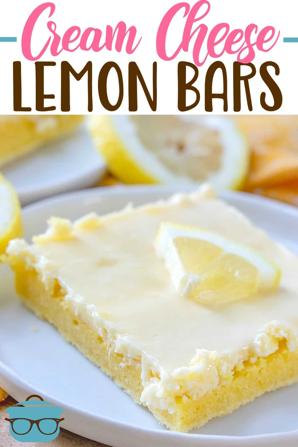 These Cream Cheese Lemon Bars are made with a boxed lemon cake mix topped with a sweet cream cheese and lemon zest flavored layer. #lemonbars #cakemix