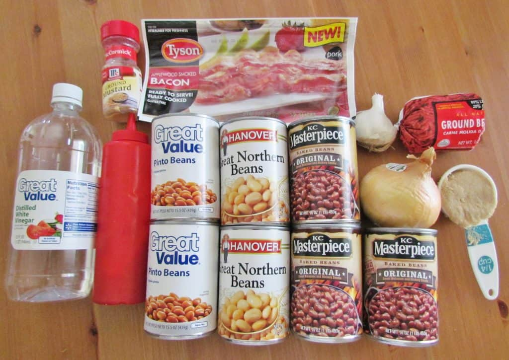 baked beans, northern beans, pinto beans, ground beef and bacon