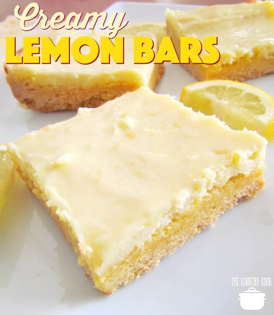 Creamy Lemon Bars recipe from The Country Cook
