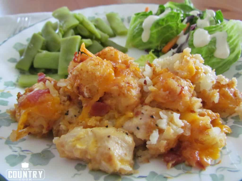 Crock Pot Cheese Chicken Tater Tot Casserole