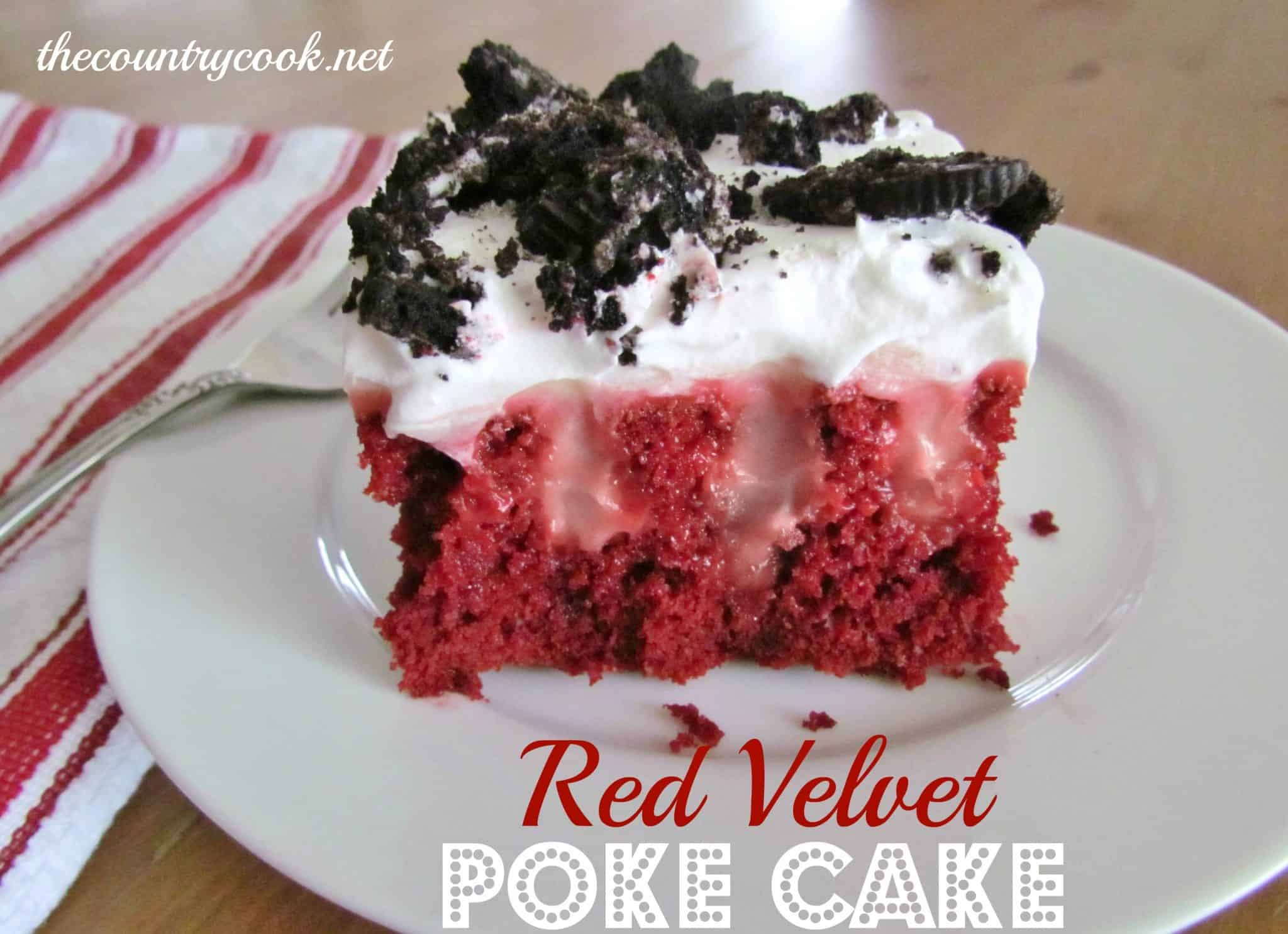 Red Velvet Poke Cake With White Chocolate Pudding