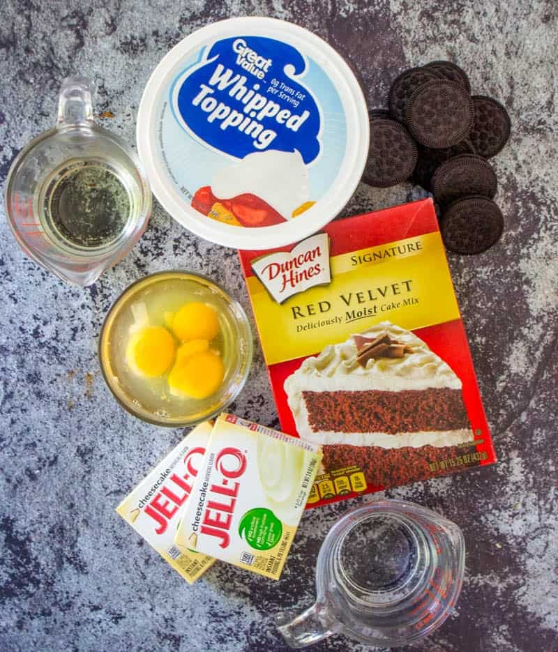 red velvet cake mix, cheesecake pudding, Cool Whip, eggs, water, oil, Oreos