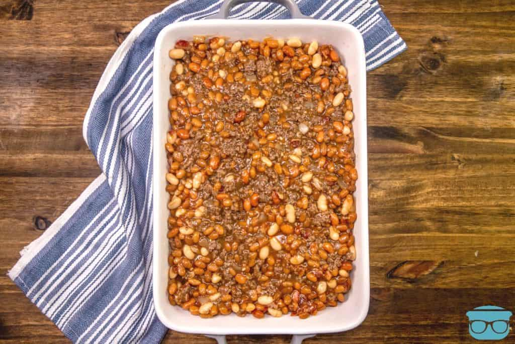 calico baked beans in a large baking dish (before baking)