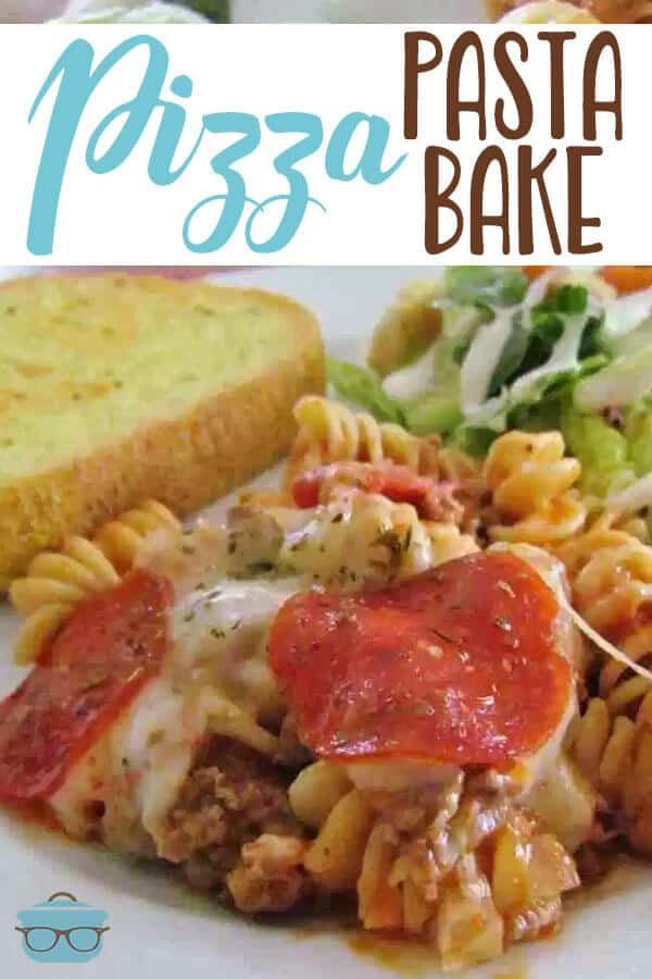 This Pizza Pasta Bake recipe is a family favorite. Flavorful pizza sauce tossed with rotini noodles, pizza toppings and melted cheese. YUM! #pizzapastabake #dinner