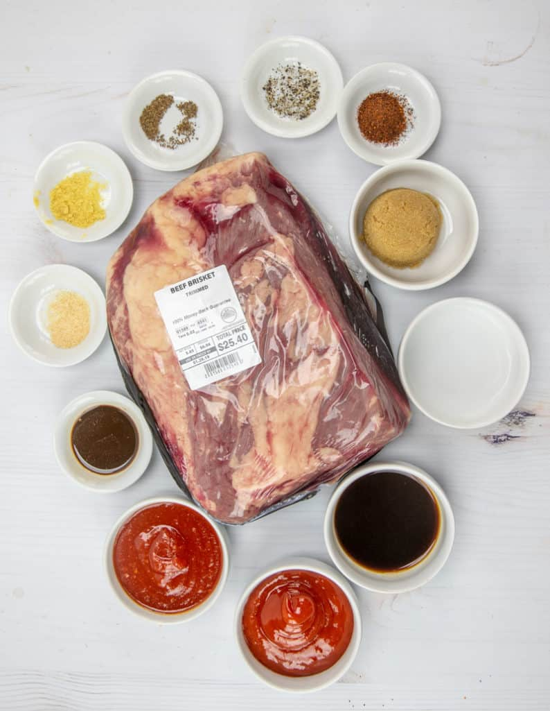 BBQ Beef Brisket, BBQ sauce ingredients, beef brisket, barbecue rub, chili powder, garlic powder, celery seeds, black pepper, ketchup, chili sauce, brown sugar, dry mustard, vinegar, Worcestershire sauce, liquid smoke