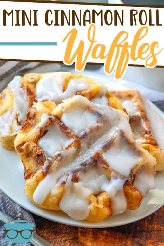 Easy Mini Cinnamon Roll Waffles recipe from The Country Cook, waffles shown on a small round white plate