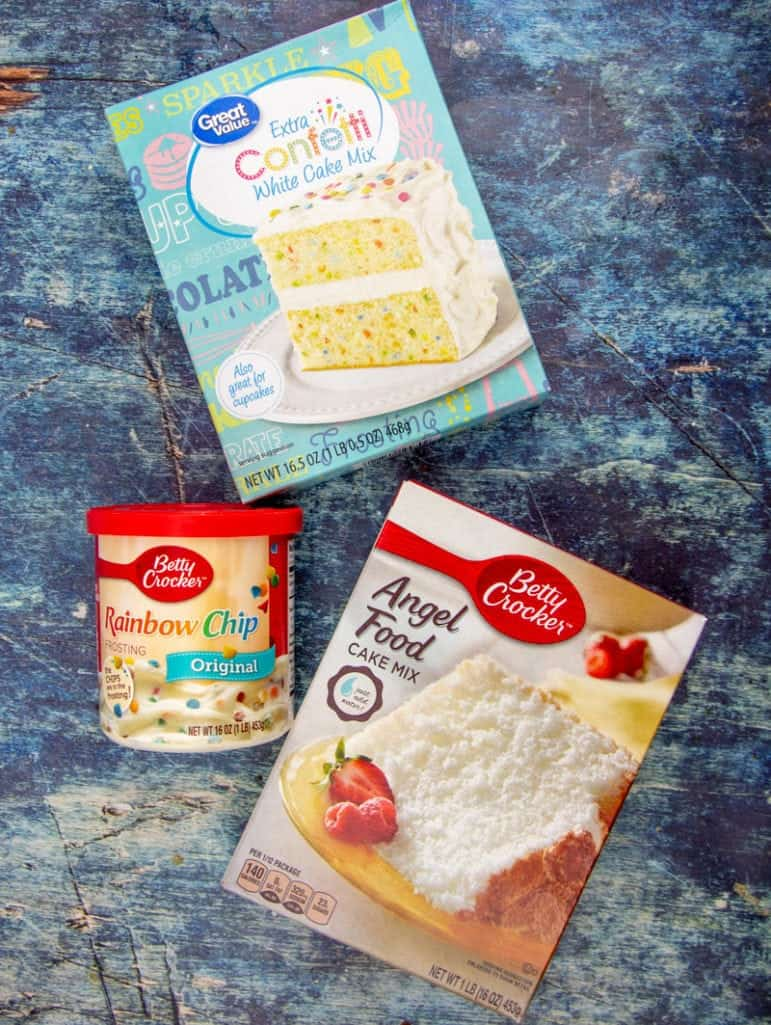 angel food cake mix, confetti cake mix, rainbow chip frosting