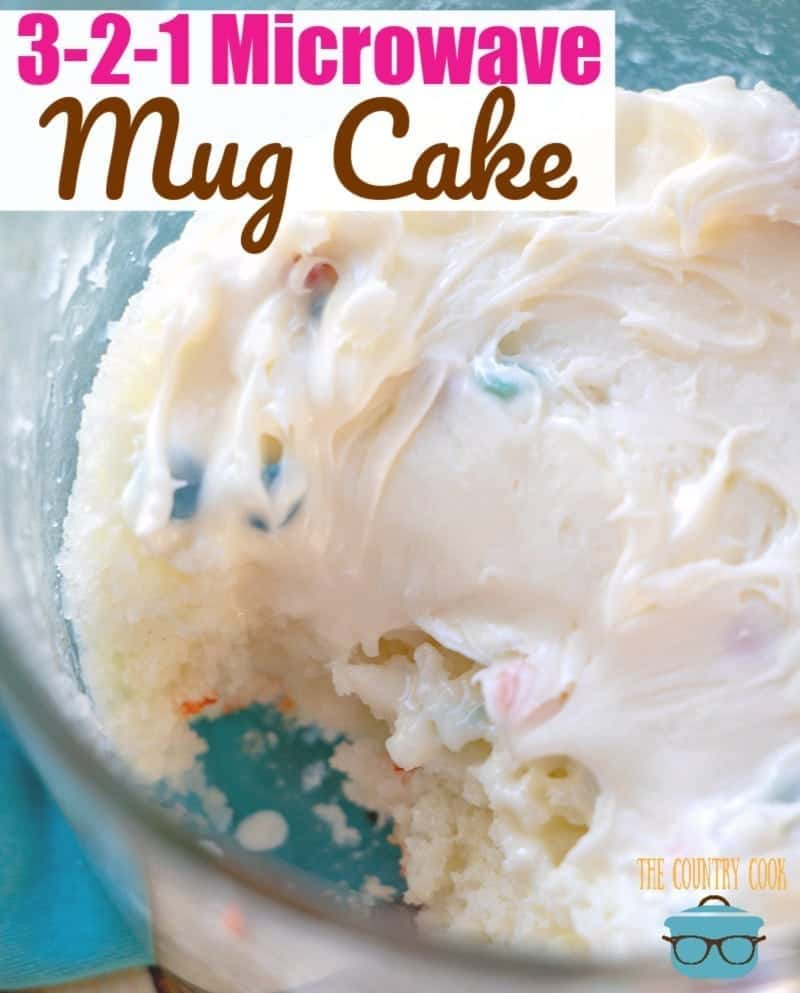 3-2-1 Microwave Mug Cake with Frosting recipe from The Country Cook