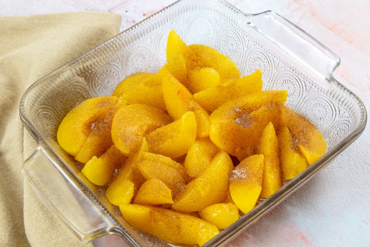 canned peaches sprinkled with cinnamon sugar.