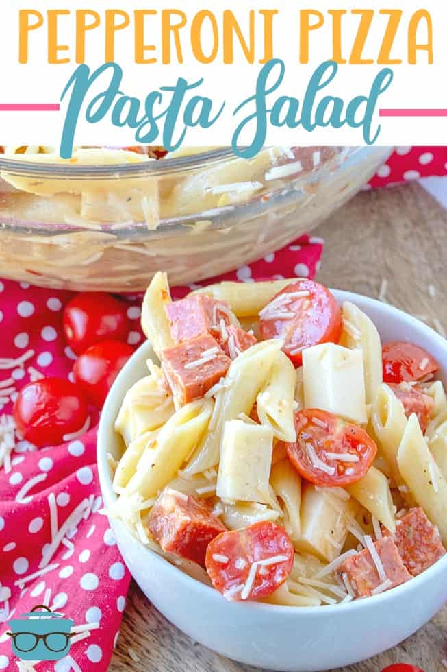 Pepperoni Pizza Pasta salad is a super-quick and super-easy pasta salad that packs a lot of flavor. Pasta, pepperoni, mozzarella and Italian dressing. #pastasalad #pizza