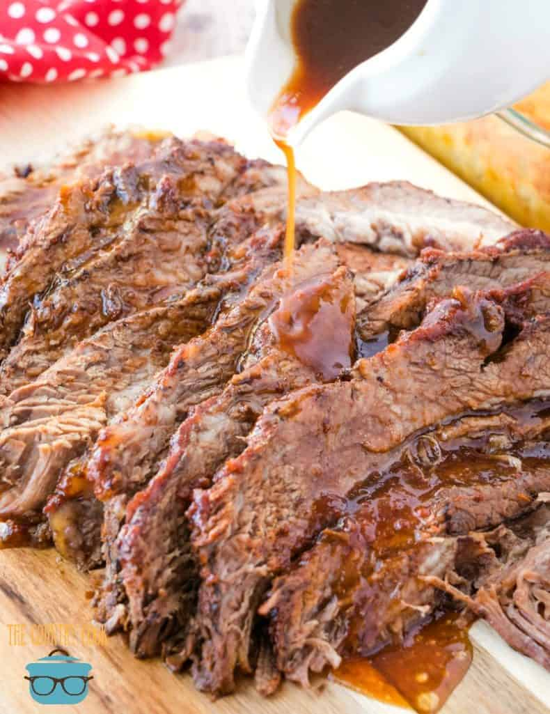 The Best Slow Cooker BBQ Beef Brisket with sauce