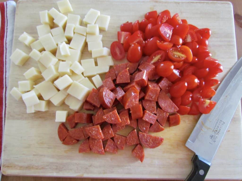 diced mozarella, diced pepperoni, sliced grape tomatoes