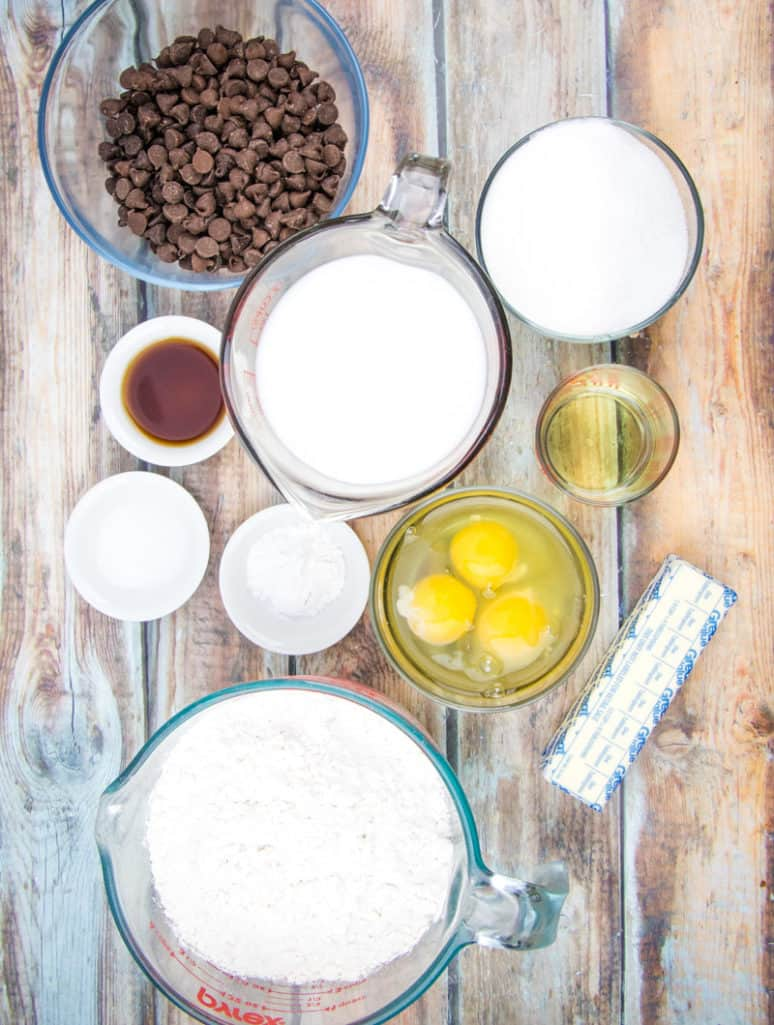 all-purpose flour, sugar, baking powder, salt, milk chocolate chips, butter, vegetable oil, eggs, milk, vanilla extract