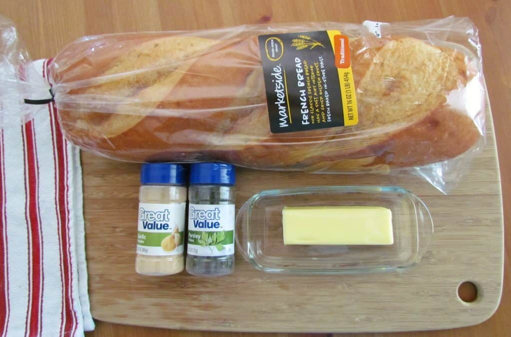 Italian bread, butter, garlic powder, parsley