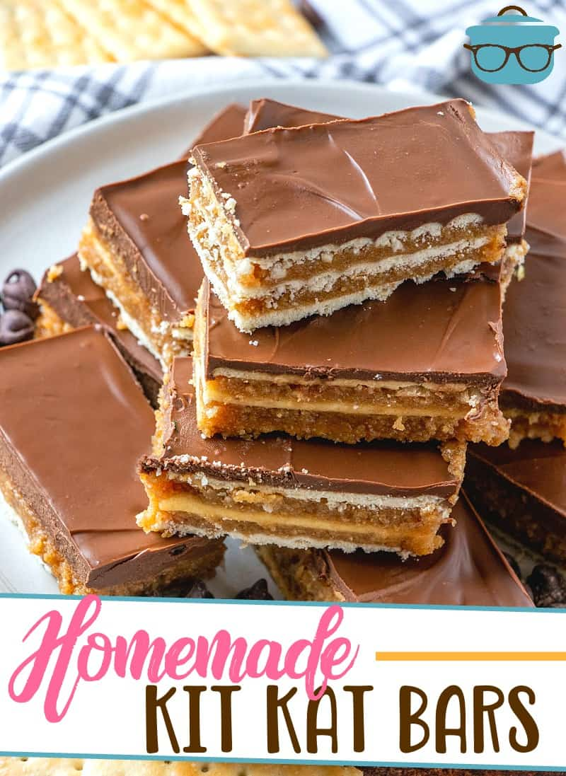 This no-bake dessert recipe for Homemade Kit Kat Bars is a family favorite! Layers of crackers, graham crackers, chocolate and peanut butter.