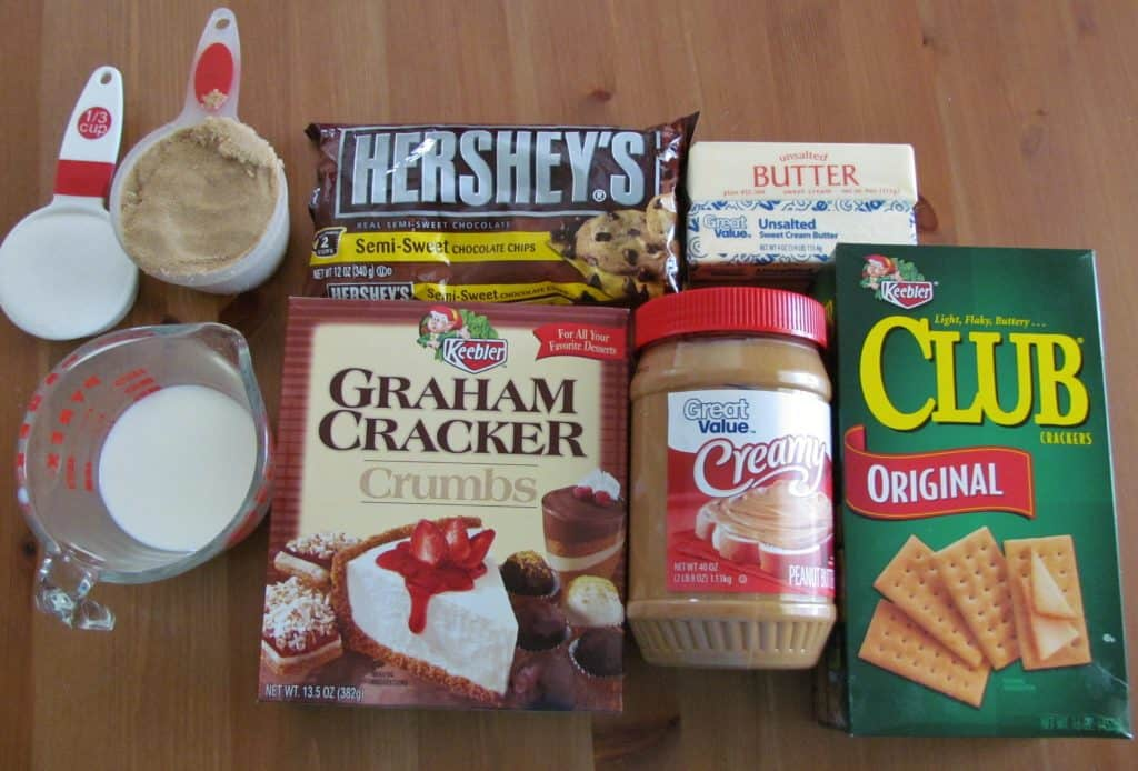 club crackers, butter, light brown sugar, sugar, milk, graham cracker crumbs, creamy peanut butter, semi-sweet chocolate chips