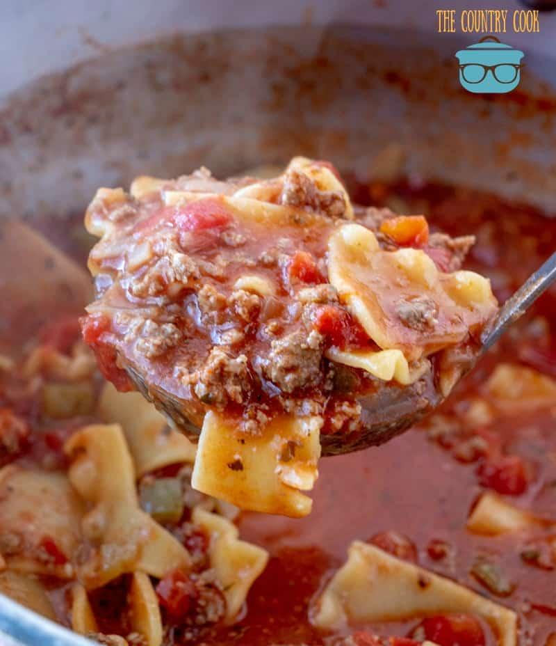 Lasagna Soup in a ladle