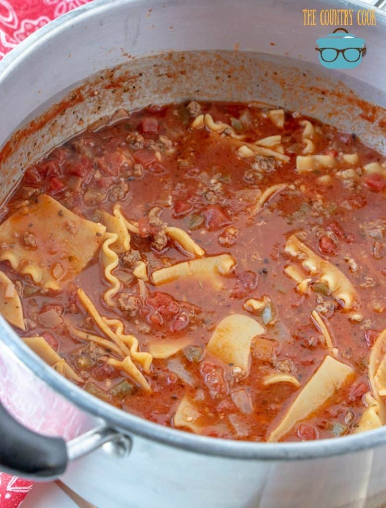 Lasagna soup simmering in a pot