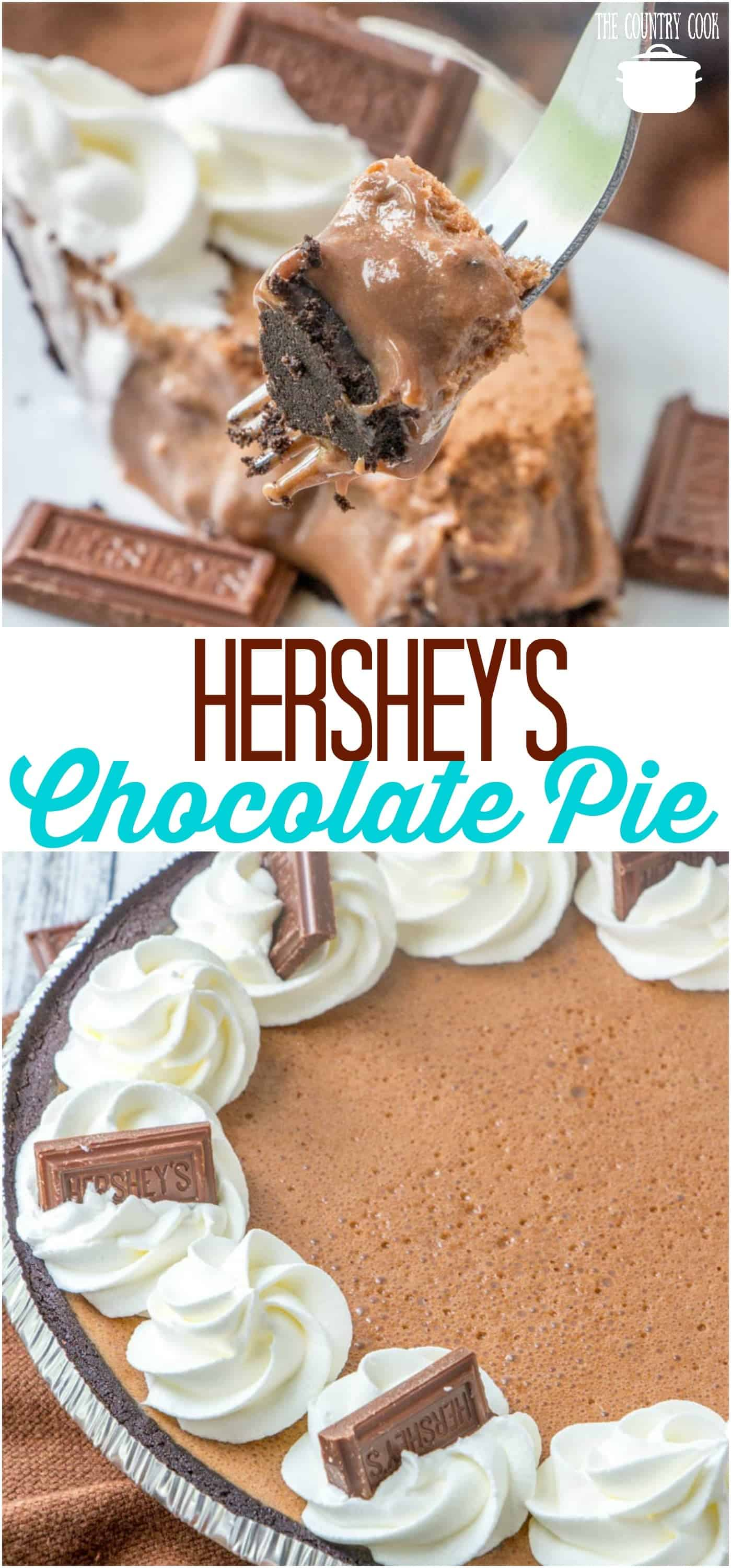 Hershey's Chocolate Pie recipe from The Country Cook #chocolate #pie #nobake #marshmallows #dessert #desserts #recipe #recipes #ideas