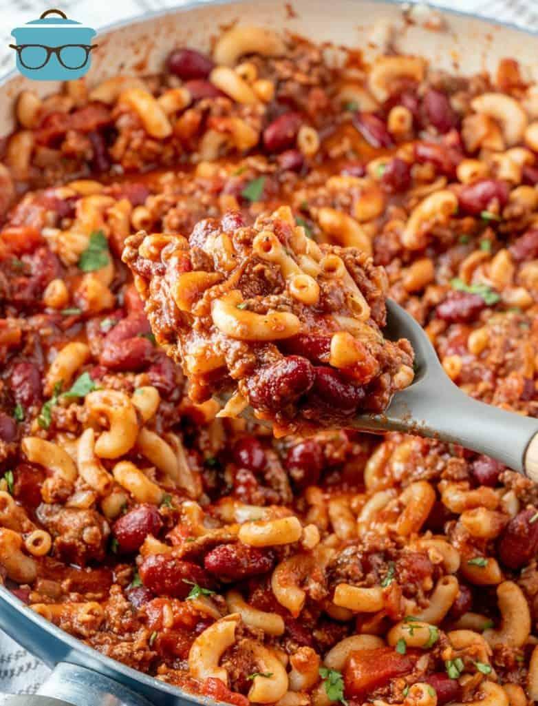 large spoonful of finished macaroni chili