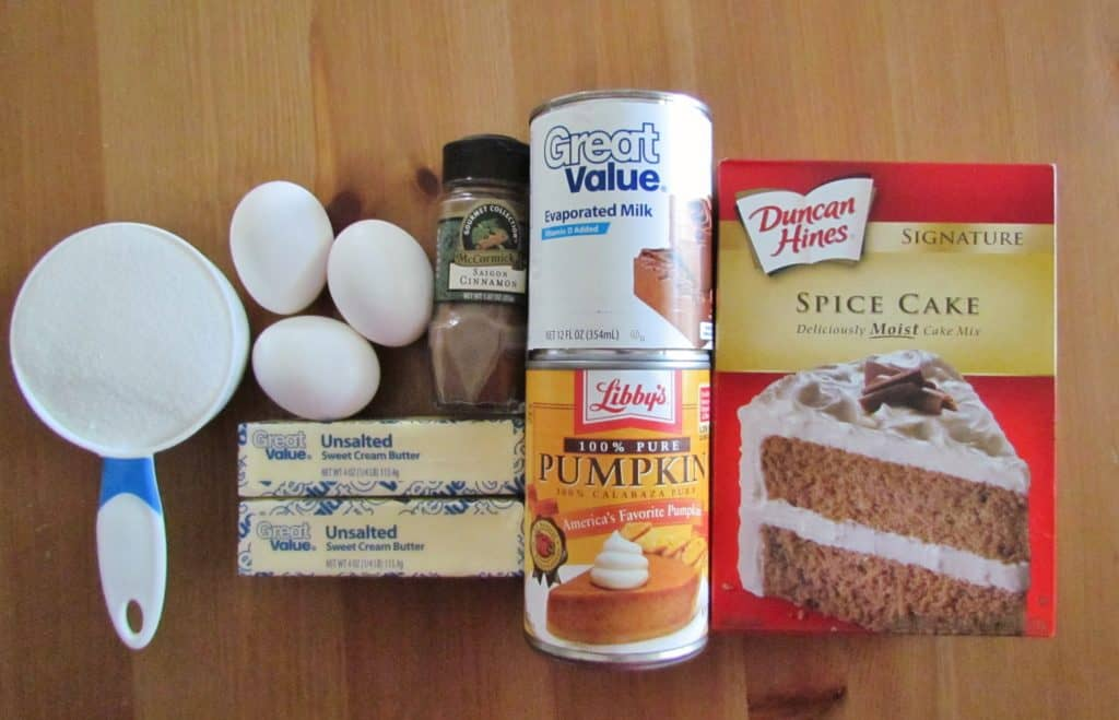 boxed spice cake mix, canned pumpkin, evaporated milk, eggs, butter, cinnamon