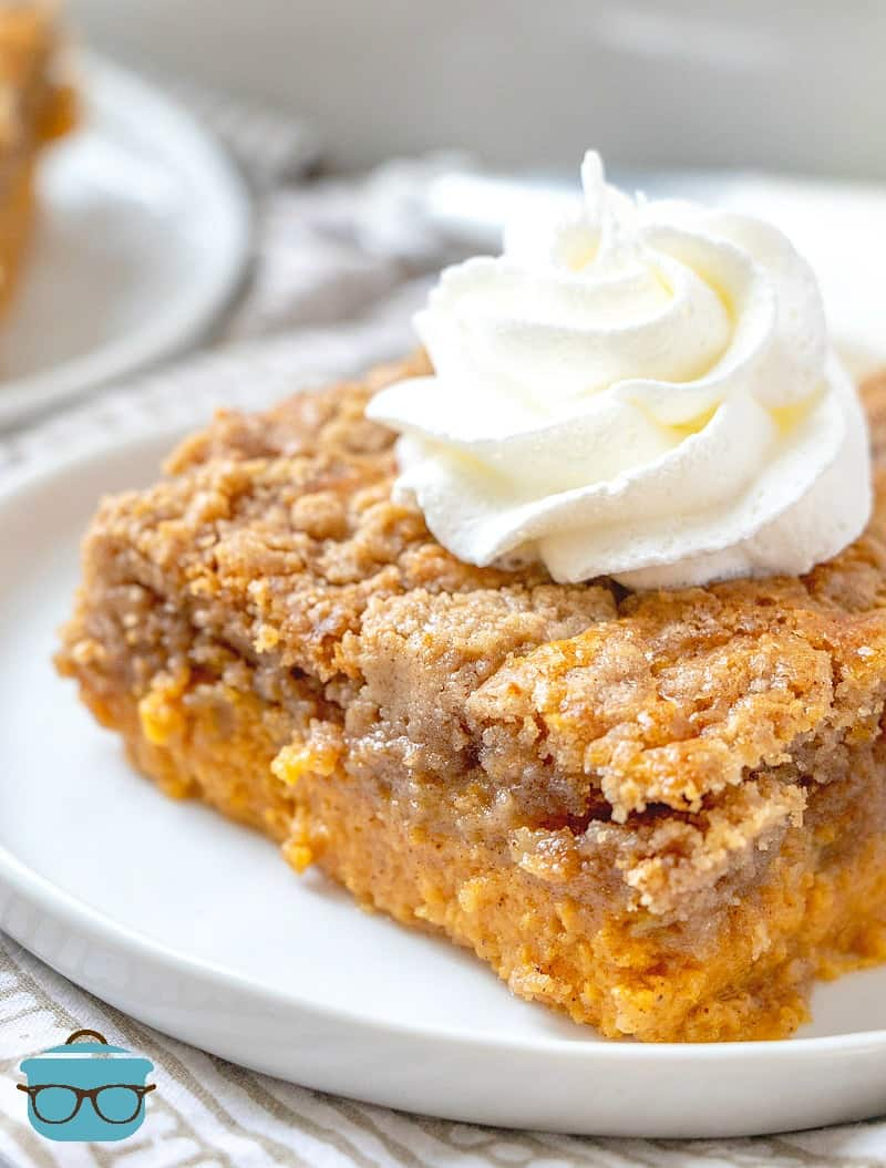 Pumpkin Pie Dump Cake, slice with whipped cream.