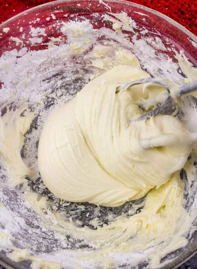 butter, cream cheese and sugar to make homemade cream cheese frosting