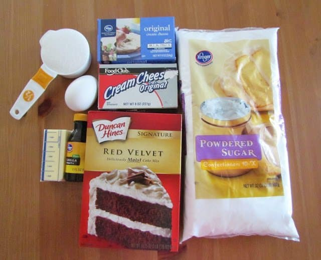 red velvet boxed cake mix, cream cheese, butter, powdered sugar, vanilla, eggs